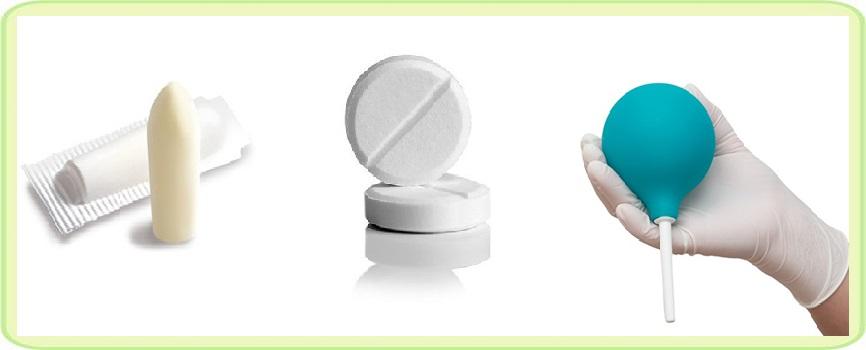 Свеча таблетки и клизма